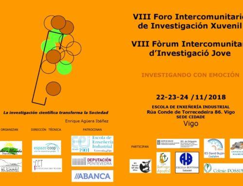 8º Foro Intercomunitario de Investigación Xuvenil | 22, 23, e 24 de novembro, Vigo